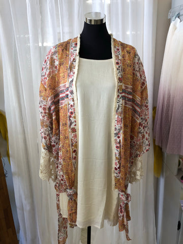 Floral Kimono with a Cross on Back