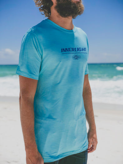 Innerlight Surf Rashguard Caribbean Blue SS - Sun Protection shirt - SPF shirt - Free Shipping
