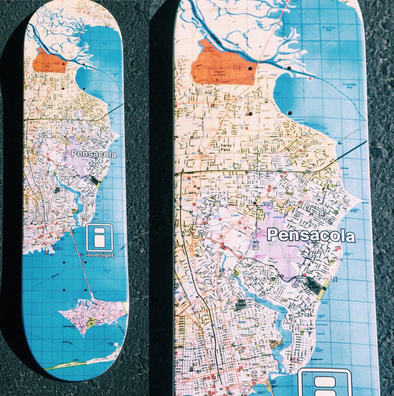 Innerlight Skate deck - 'Pensacola Map Deck' - New Skateboard Deck - Full size range