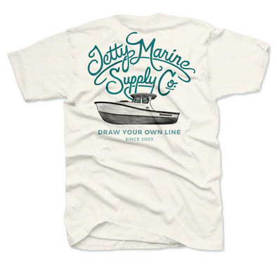 Jetty Boat Script Heathered Tee - Mens T Shirt