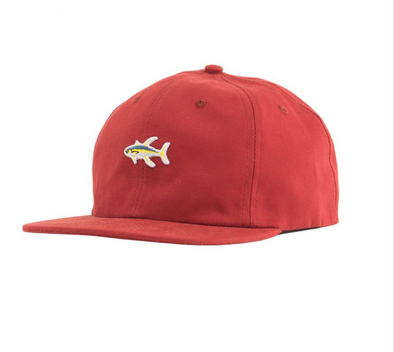 Salty Crew Happy Fish 6 panel - Red - Dad Hat