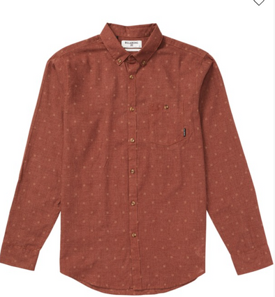 Billabong All Day Jacquard Long Sleeve Shirt - RUST