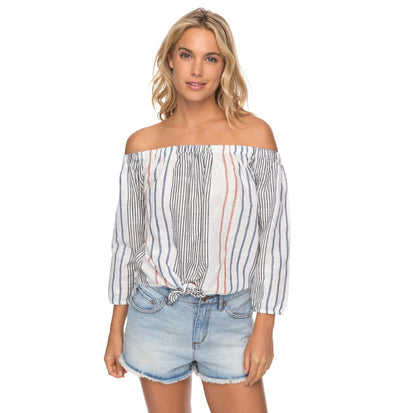 Roxy Crossing Stripes Off The Shoulder Top
