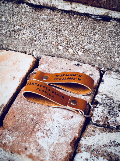 Pensacola Beach Leather Keychain - handmade locally