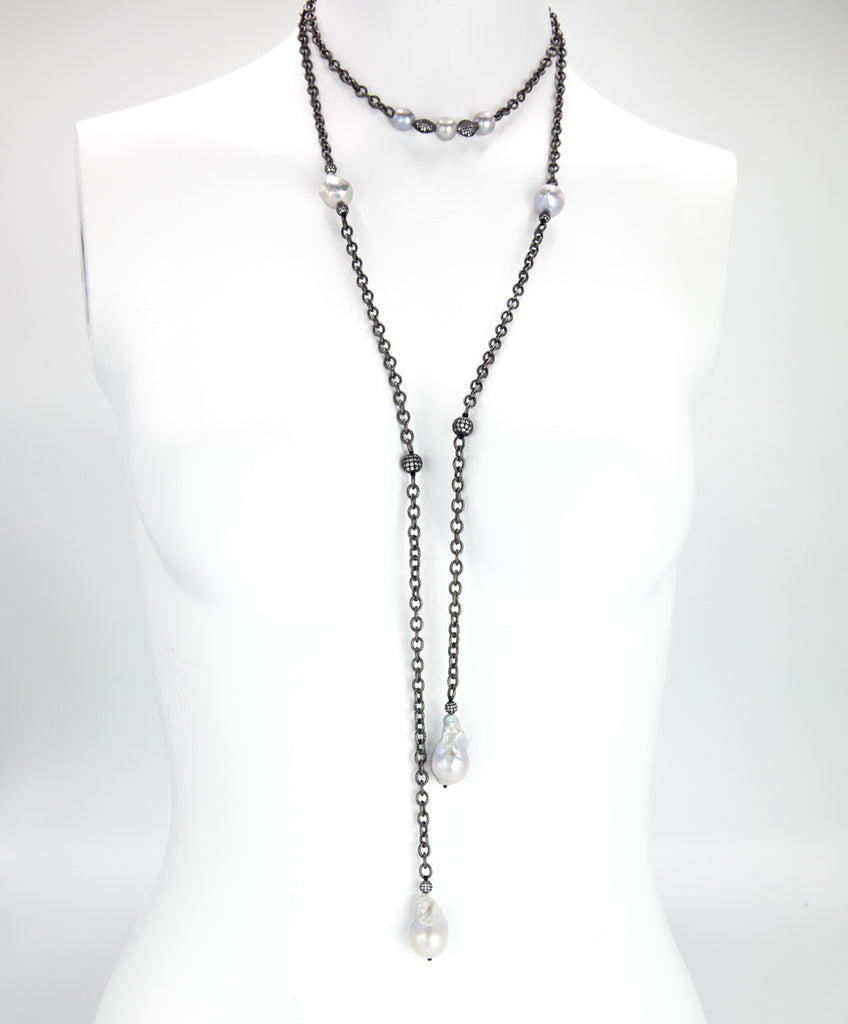 Black Chain Link & Pearl Long Necklace