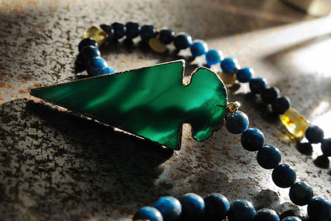 Blue Agate arrow and apatite and amber necklace