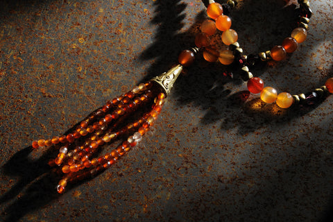 Carnelian long tassel necklace