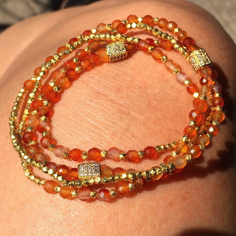 Carnelian & gold convertible bracelet / necklace