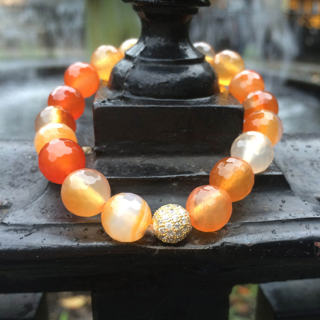 Carnelian bracelet - Like a fiery sunset over the tranquil sea