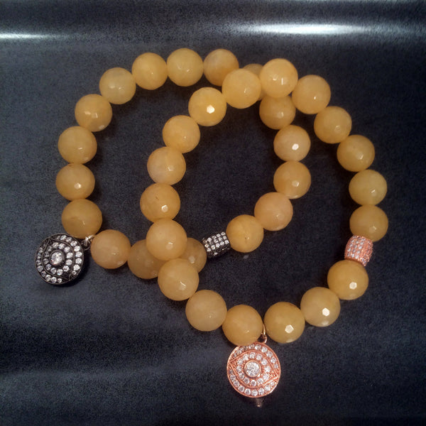 Yellow Jade with evil eye charm bracelet