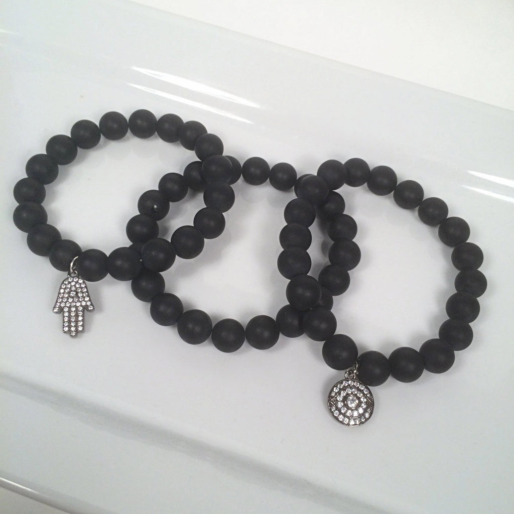 Black Onyx Beaded Bracelet with Protective Eye OR Hamsa Charm