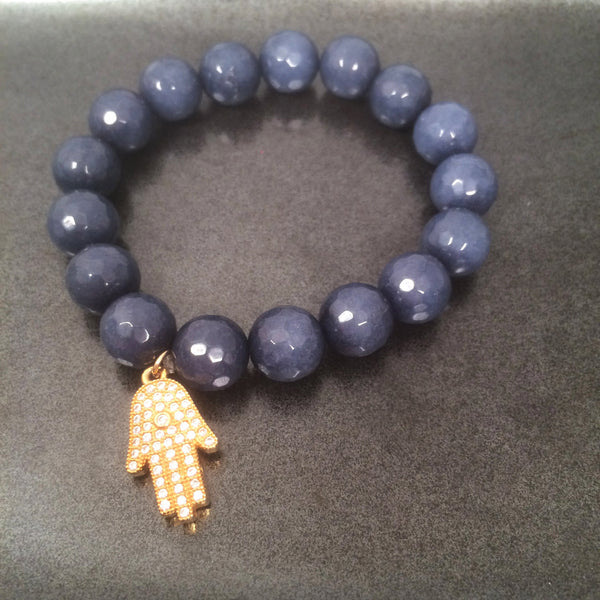 Blue Jade and Hamsa Charm Bracelet