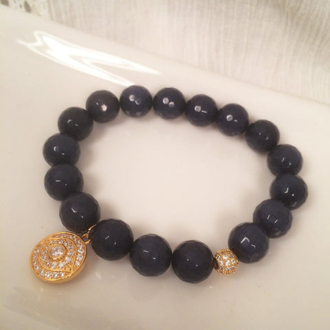Blue Jade with Evil Eye Charm bracelet