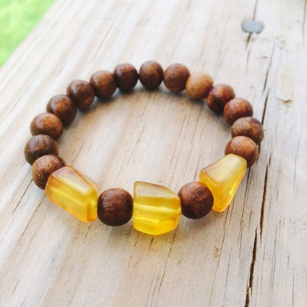 Amber & sandalwood beaded mala bracelet