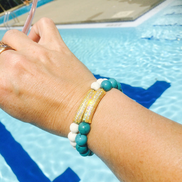 Turquoise beads and gold BLING bracelet