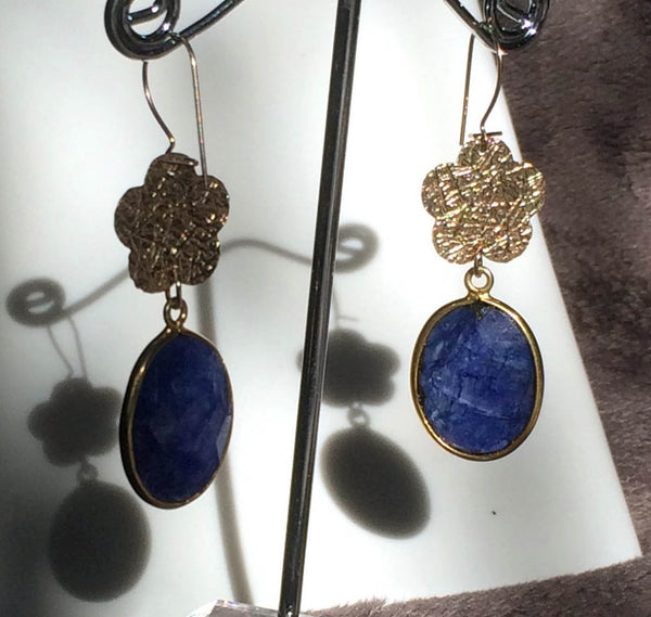 A BLACK TIE AFFAIR lapis lazuli and gold drop earrings