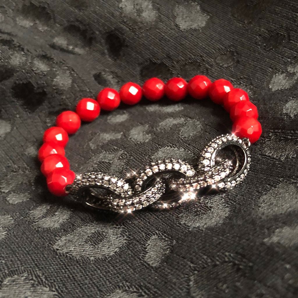 Chain link & red coral bracelet