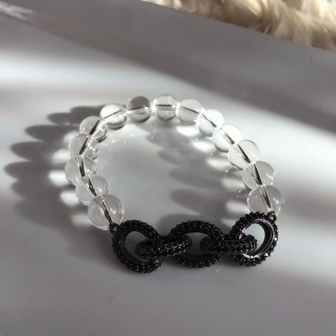 Crystal clear & chain  link bracelet