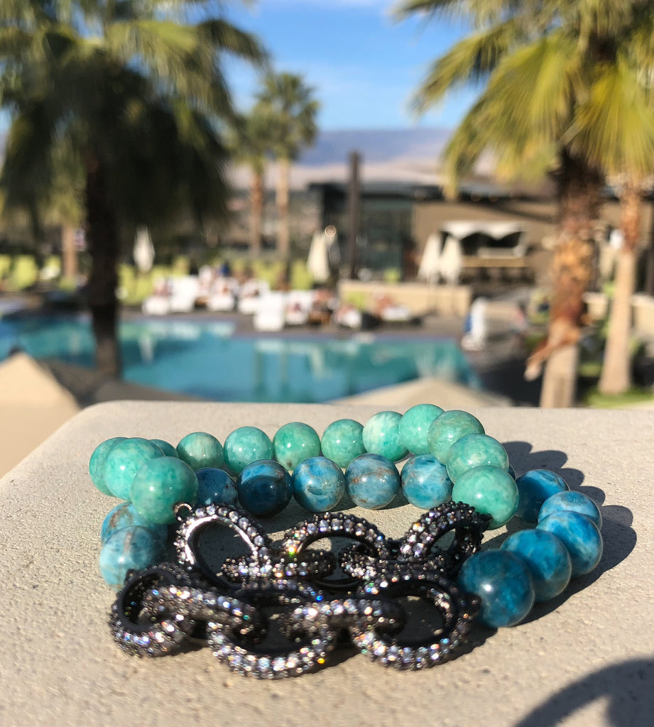 Amazonite & pave crystal chain link bracelet