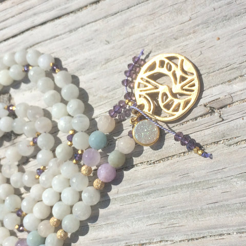 Aquamarine Amethyst & Moonstone Mala necklace