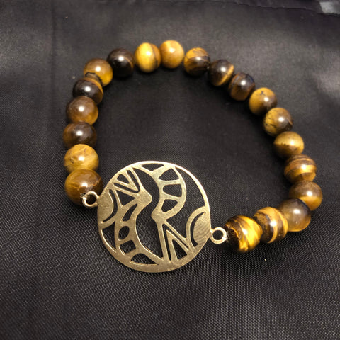 BALANCE HARMONY UNITY gold charm with tiger eye beads