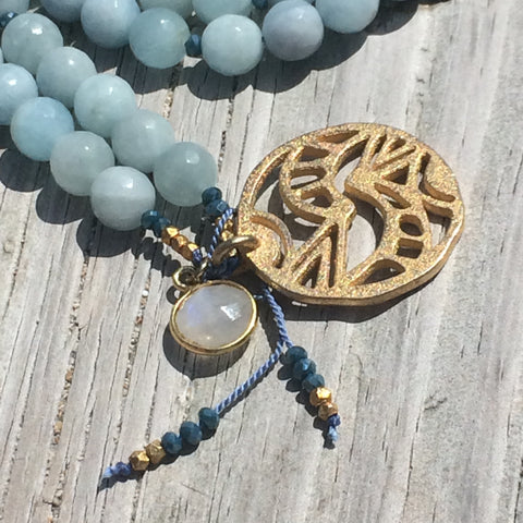 Mala Necklace -Aquamarine