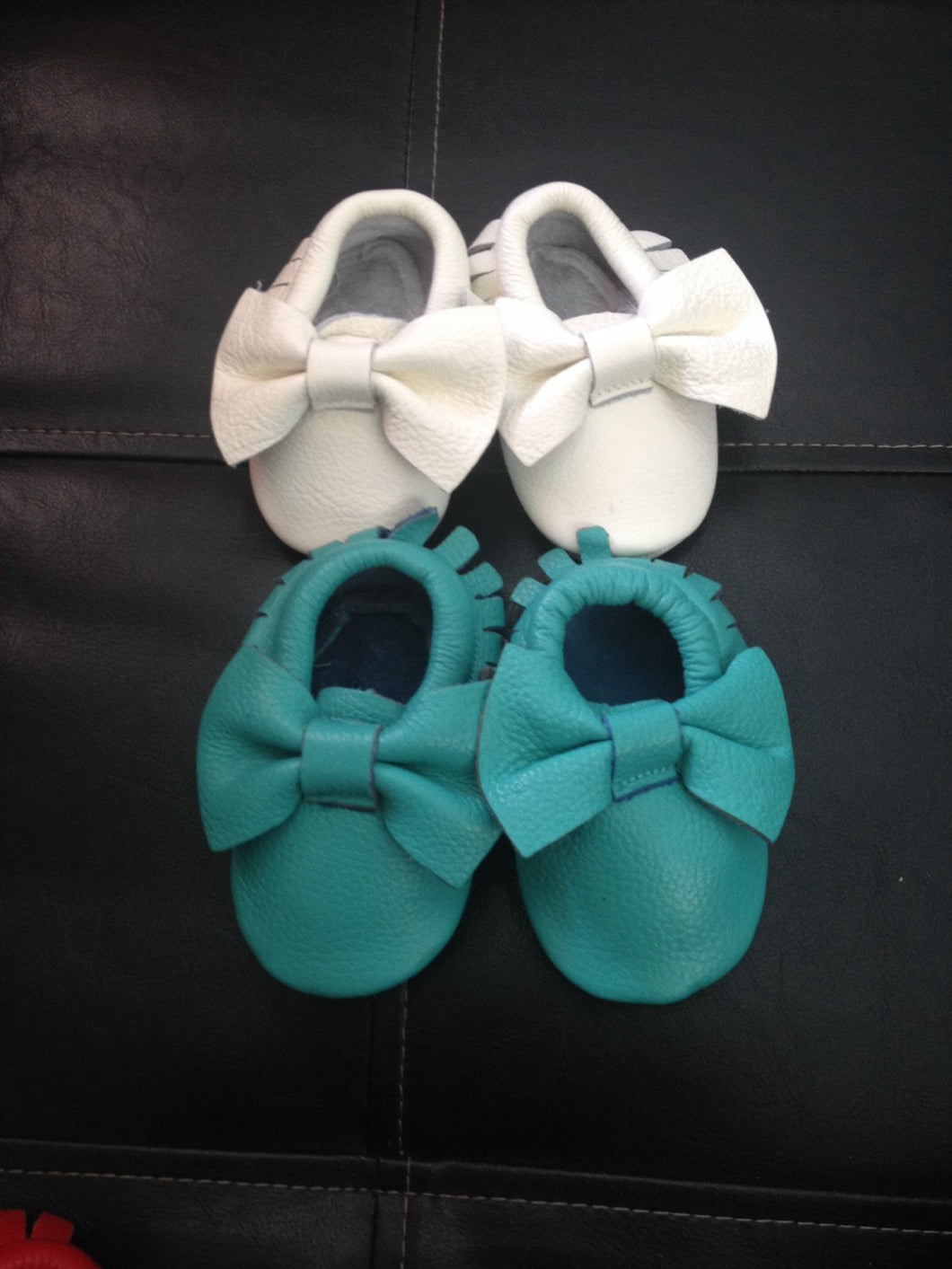 Teal Bow Moccasins Turquoise Toddler Mocs Baby Girl booties Babies First Christmas Gift Baby Shower gift