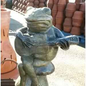 Animal Statue, Guitar Frog, Painted