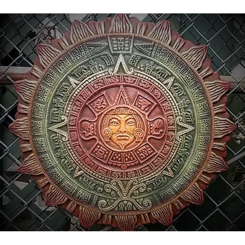 "Aztec Calendar Wall-Hanging/Sunface, Large 19"" Painted"