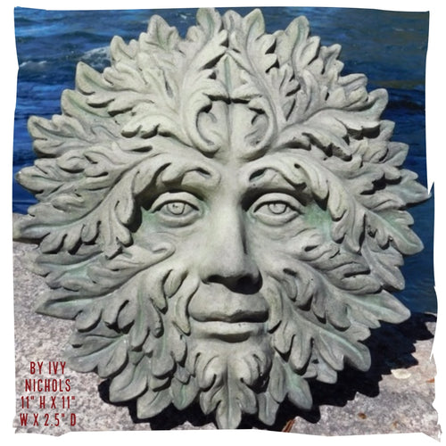 Wall Decoration | Belgian Greenman Relief Replica, Concrete
