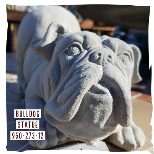 Statue, Animal | Bulldog Statue, Natural Concrete, Sm