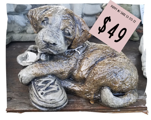 Statue, Animal | Dog w/ Shoe Statue, Small, Painted