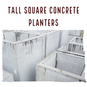 "Planter, Concrete | Tall Square Planter (Two Sizes: 18"" tall & 24"" tall)"