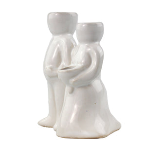 """Wedding Couple"" Air Head White Ceramic Pot - Air Plant Holder, Succulent, Cactus Planter"