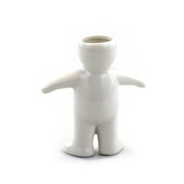 """Boy"" Air Head White Ceramic Pot"