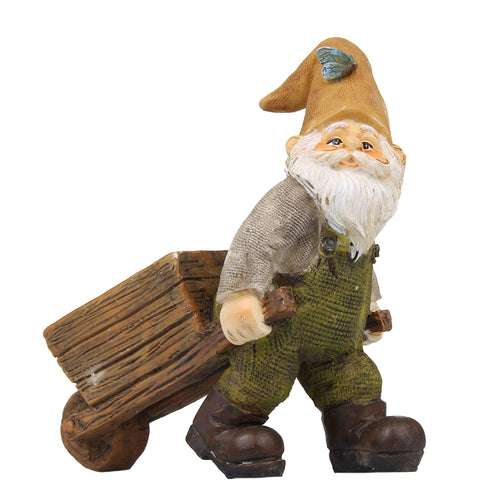 Fairy garden miniature wheelbarrow gnome