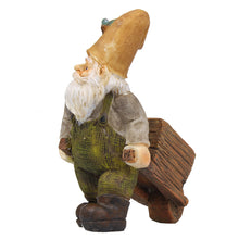 Fairy garden miniature wheelbarrow gnome front view