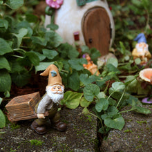 Fairy garden miniature wheelbarrow gnome in fairy garden