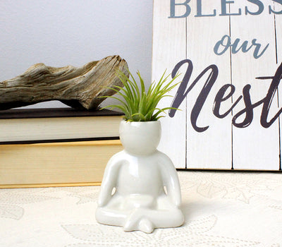 """Meditation Person"" Air Head Complete Kit With Live Air Plant"