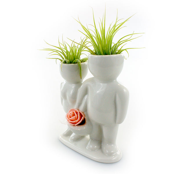"""Couple Carrying Basket"" Air Head Complete Kit With Live Air Plant"