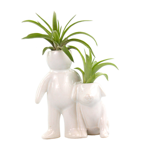 """Person With Dog"" Air Head White Ceramic Pot - Air Plant Holder, Succulent, Cactus Planter"
