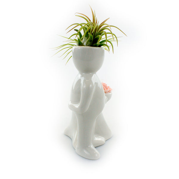 """Wedding Couple"" Air Head Complete Kit With Live Air Plant"