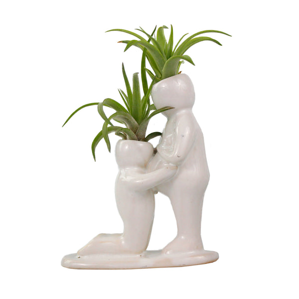 """Baby Bump"" Air Head White Ceramic Pot - Air Plant Holder, Succulent, Cactus Planter"