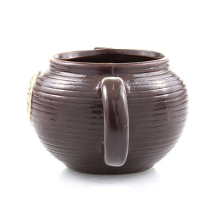 Brown ceramic teapot planter pot - rear