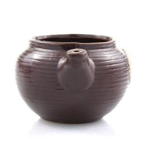 Brown ceramic teapot planter pot - front