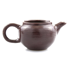 Brown ceramic teapot planter pot - side