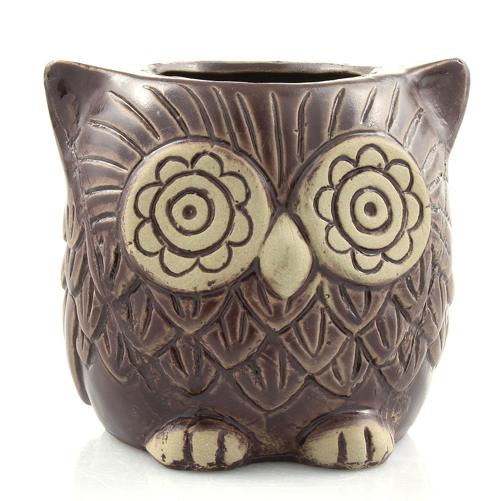 Small brown ceramic owl planter pot for small indoor plants