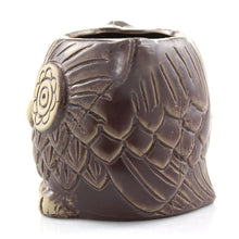 Brown ceramic owl planter pot - side