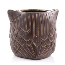 Brown ceramic owl planter pot - rear