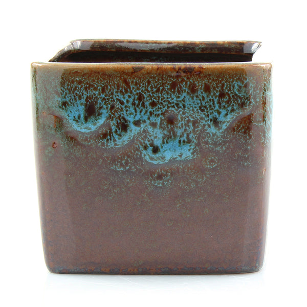 Square Blue Ceramic Succulent Pot